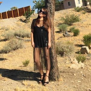 FREE PEOPLE Limited Edition black sequin romper